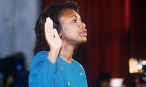 Anita Hill takes the oath before the Senate judiciary committee in 1991.
