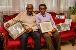 Stephenson with his wife, Joyce, and memorabilia of his meetings with Muhammad Ali.