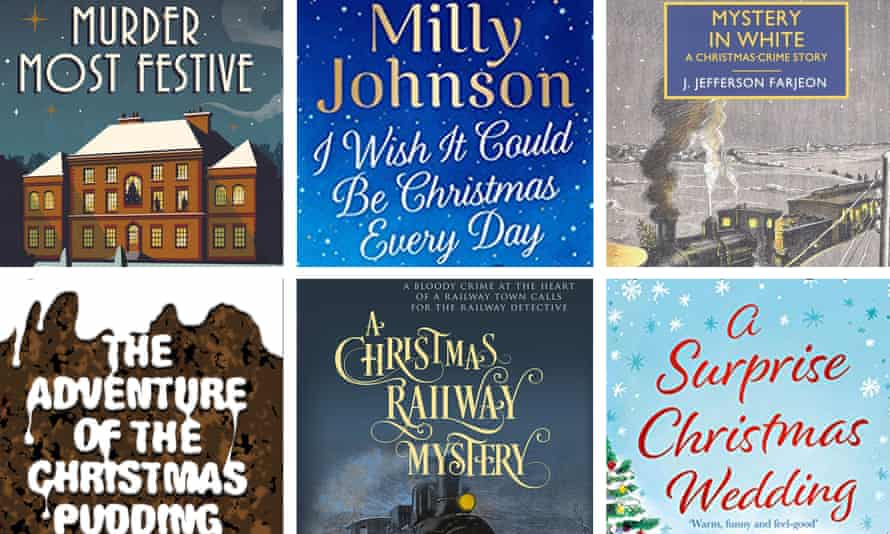 Christmas-themed books (l-r, top): Murder Most Festive, I Wish It Could Be Christmas Every Day, Mystery in White, The Aventure of the Christmas Pudding, A Christmas Railway Mystery, and A Surprise Christmas Wedding.