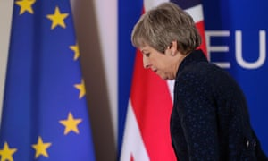 Theresa May leaves after a press briefing at the end of an article 50 session at the European council in Brussels on 21 March