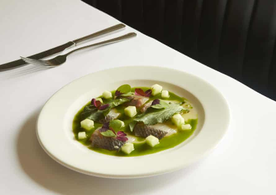 Sessions Arts Club's sea bream with fig oil and sorrel: 'Odd yet utterly compelling.'
