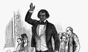 Frederick Douglas Addressing Audience<br>(Original Caption) Frederick Douglas (1817-1895) addressing an English audience during his visit to London in 1846. He also pleaded for Irish Home Rule. Undated engraving.