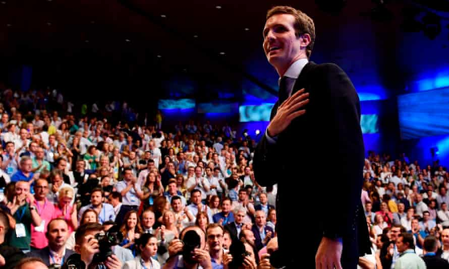 Pablo Casado acknowledges delegates after being chosen as the new leader of Spain's People's party