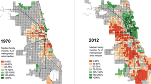 Chicago family incomes in 1970 and 2012; graphic by Daniel Hertz