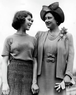 The Queen Mother, then Queen Elizabeth, with princess Elizabeth at Royal Lodge, Windsor, Berkshire during the second world war.