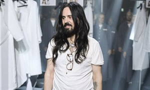Creative director Alessandro Michele on stage at the Gucci show on Wednesday