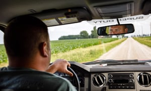 Mickelson drives near his farm in Duncombe, Iowa.