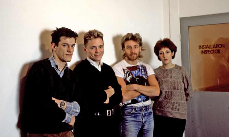 Stephen Morris, Bernard Sumner, Peter Hook and Gillian Gilbert of New Order circa 1982