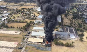 Toxic black smoke rises from the tyre factory fire in Broadmeadows on Monday.