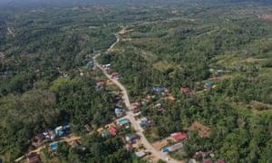 An aerial view of Sepaku district in East Kalimantan
