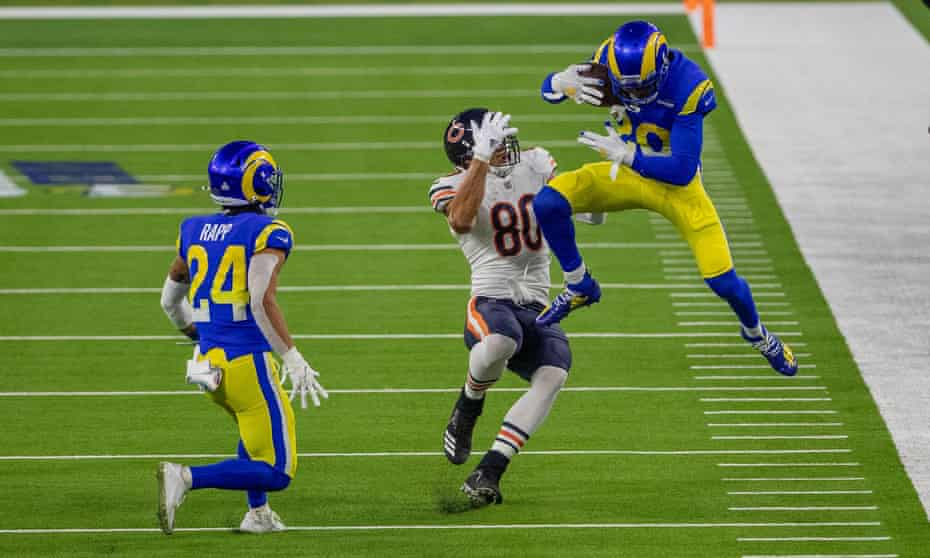 All Pro cornerback Jalen Ramsey intercepts a pass intended for Chicago Bears tight end Jimmy Graham during a game last season