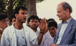 Walter Schwarz, right, interviewing people in Italy in 1990 for HTV West's Thy Kingdom Come. He wrote and presented the series about the role of the church in contemporary Europe