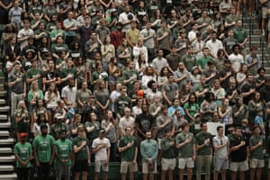 Charlotte, North Carolina: Students stand for a vigil at the University of North Carolina-Charlotte after a student with a pistol killed two people and wounded four others on Tuesday