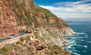 A car on Chapman's Peak Drive, Cape Town, South Africa