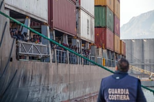 Rescued migrants on board a cargo vessel arrive to Palermo harbour