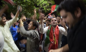 A celebration on the streets of Islamabad after early results suggested former cricket hero Imran Khan was on his way to becoming the country's next prime minister.