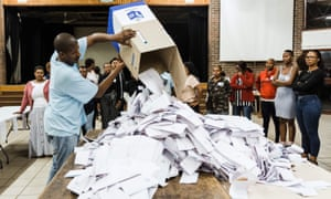 Vote counting begins at a primary school in Durban