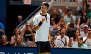 Roger Federer celebrates after defeating David Goffin in straight sets.