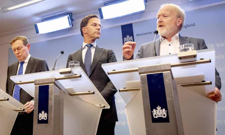 Dutch minister for medical care Bruno Bruins, Prime Minister Mark Rutte and Dutch institute for public health and environment RIVM Jaap van Dissel, address a press conference March 12, 2020 in The Hague.