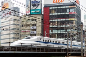 Quicksilver: the Shinkansen high-speed train leaves Tokyo.