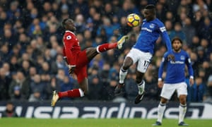 Gueye tussles with friend and international teammate Sadio Mané  during last season's Anfield derby