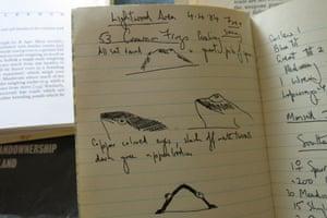 Frogs in Mark Cocker's 1984 notebook