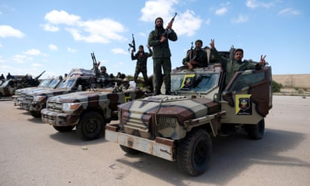 Libyan National Army forces commanded by Khalifa Haftar prepare to advance to Tripoli.