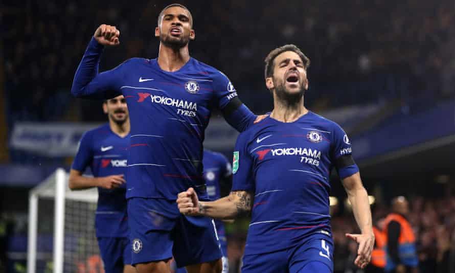 Cesc Fàbregas (right) celebrates with Ruben Loftus-Cheek after scoring Chelsea's third goal.