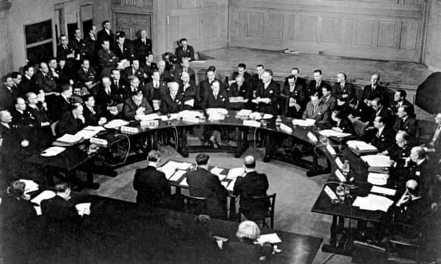 The first session of the UN security council, at Church House in London on 17 January 1946.