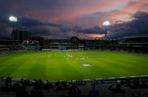 Sunset in the final over of the day during the second day of the England v West Indies third test match at Lord's.