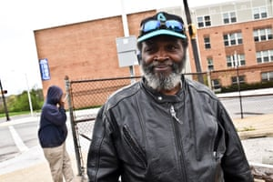 Omar's death: Alfred McDaniel, 59, stands across the street from the location of the shop where Omar was shot dead in season five. The building burned down during the riots following the death of Freddie Gray in Baltimore in 2015.
