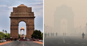 India Gate after and during the coronavirus lockdown.  Curbs to stem the virus bolstered air quality in Delhi, allowing landmarks to be seen more clearly