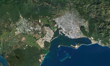 A satellite image of Kingston, Jamaica, taken in December 2013.