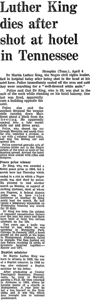 First report from the Guardian that Martin Luther King had been shot dead, 5 April 1968