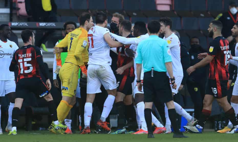 Watford and Bournemouth players clash as tempers spill over close to full-time