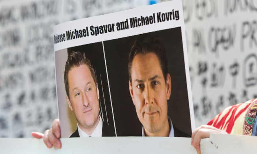 A photo of detained Canadians Michael Spavor (L) and Michael Kovrig
