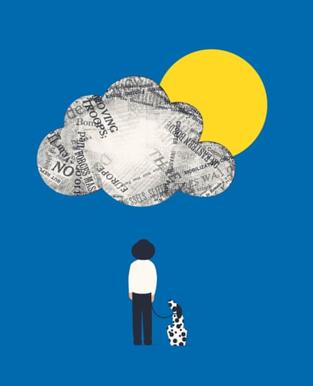 Illustration of a newspaper cloud with a yellow sun behind