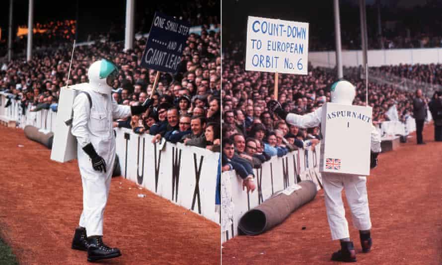 Tottenham's 'Aspurnaut' mascot before the second leg of the 1972 Uefa Cup final at White Hart Lane.