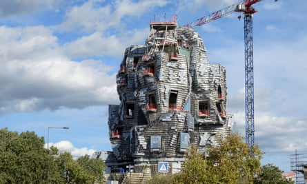 Construction work taking place on the Frank Gehry-designed tower at Luma Arles, Provence, France.