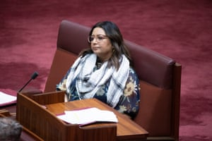 Greens Senator Mehreen Faruqi wears a kaffiyeh during question time in the Senate