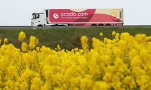 Ocado truck on the M25 motorway