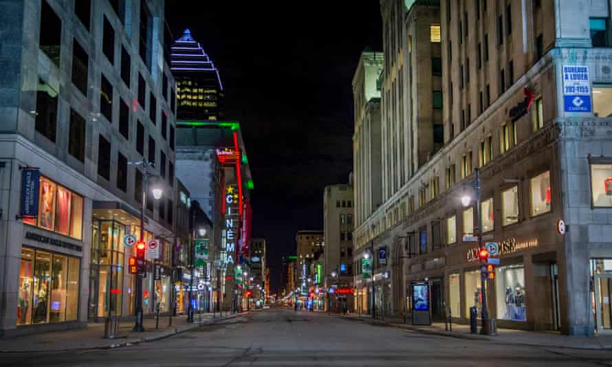 Rue Ste Catherine in Montreal is usually crowded with shoppers and traffic until late at night.