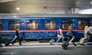 NighJet Train at an Austrian station.