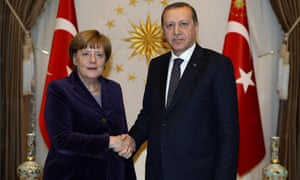 Recep Tayyip Erdoğan and Angela Merkel on Monday.