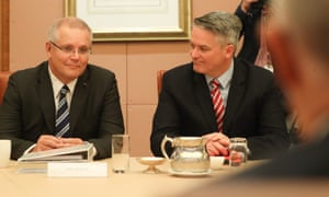 Treasurer Scott Morrison and finance minister Mathias Cormann at pre-budget cabinet meeting on Monday.