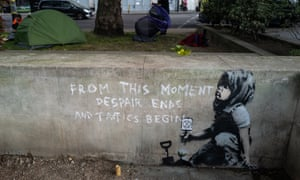 New artwork, believed to be by Banksy, which appeared in the wake of the Extinction Rebellion protests in central London this month.