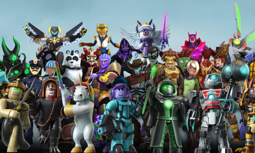 A line-up of Roblox's avatars, including monsters, robots and unicorns