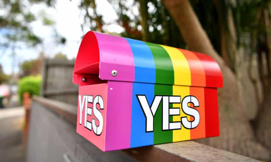 A message in support of a yes vote on a mailbox in Sydney's inner west