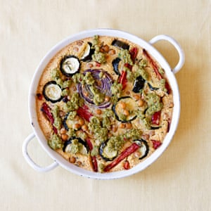 Rosie Sykes' baked farinata, red pepper and courgette with olive dressing.