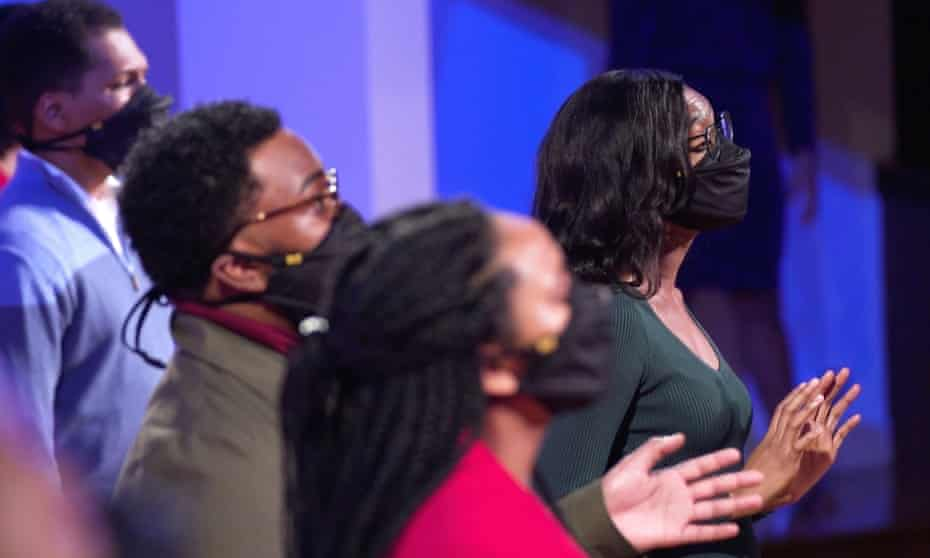the Aeolians, from Alabama, performing in face masks as part of Live from London Christmas.